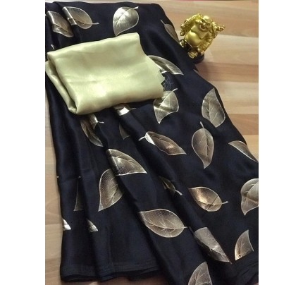 Classic Look Black Color Pure Sattin Silk With Floral Print Saree