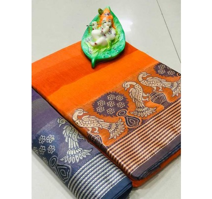 Elegance Look Orange Colour Cotton Saree with weaving border