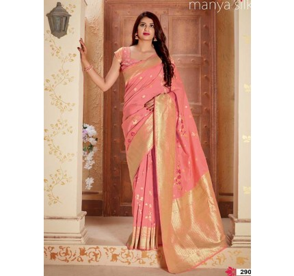 Wedding Designer Peach Color Pure Silk weaving Saree