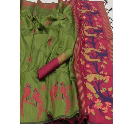 Beautiful Green Handloom Raw Silk Weaving Saree