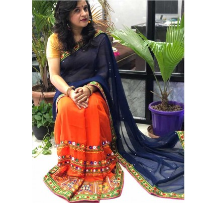 Eye-Catching Look Multi color Pure Georgette Saree  Half And Half Color Concepts