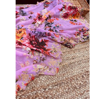 Floral Designer Georgette embroidery Saree with hand stone work & embroidery border