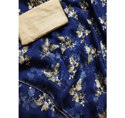 Trending Blue Colored Pure Organza With Sequence Work In Saree