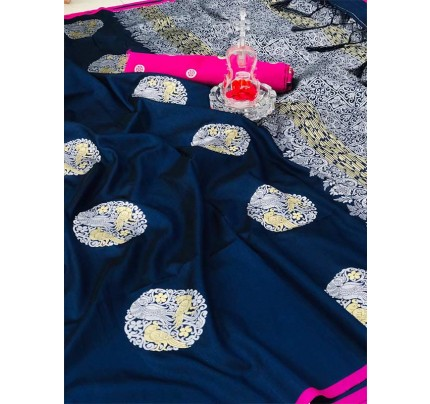Stunning Look Blue Colour Banarasi silk weaving saree with  reach pallu