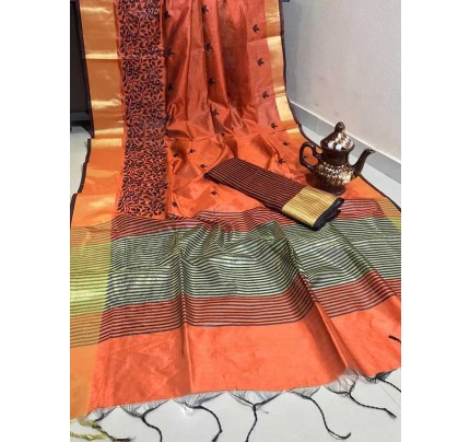 Graceful Look Orange Color Crystal Silk Saree with Embroidered work