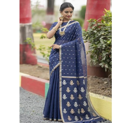 Wedding Look Blue Color Linen Silk Saree with Gold Zari weaving all over