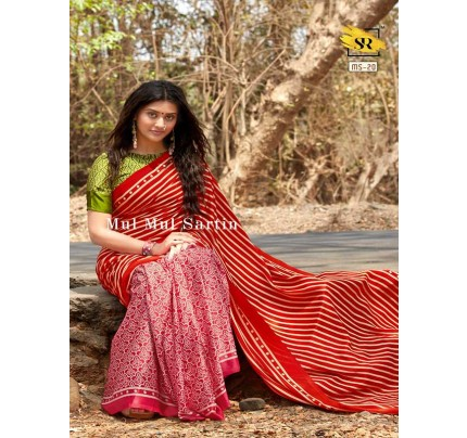 Classic Look Red Color Pure Sattin Silk With Floral Print Saree
