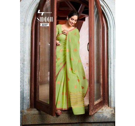 New Trending Green Color Linen Cotton Silk Printed Saree