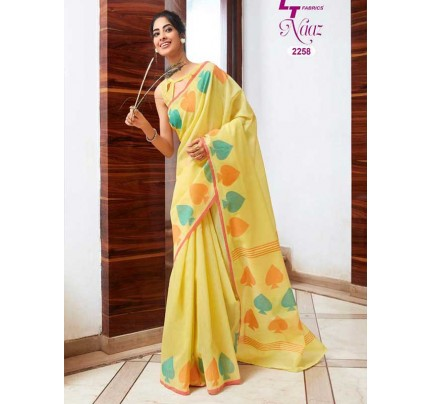 Stunning Yellow Color Soft Cotton Fabric Printed Saree