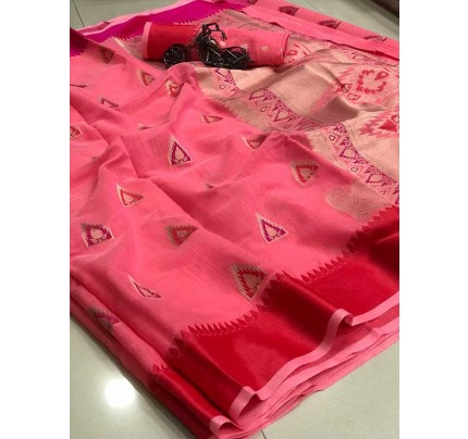 Wedding Look Pink Color Soft Linen Silk Saree