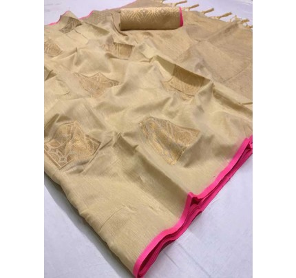 Stunning Cream Color Soft Linen Silk Fabric weaving Saree
