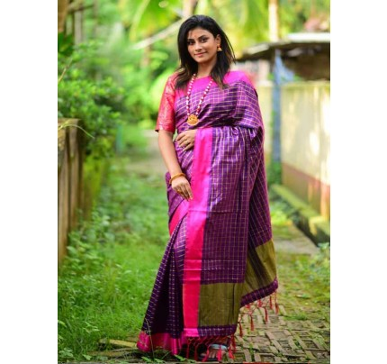 Elegance Look Purple Colour Handloom Silk Weaving Saree