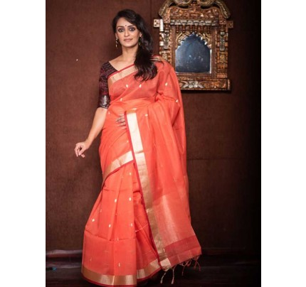 Stunning Peach Color Linen Silk Saree With Silver Zari Checks