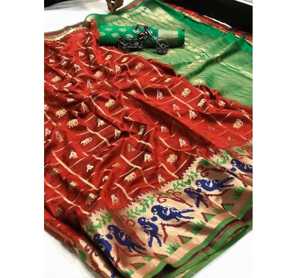 Red  Colour Banarasi Silk Weaving Saree