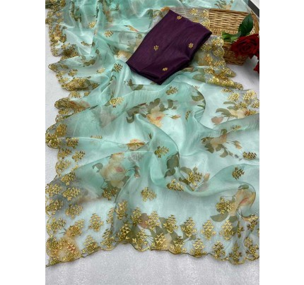 Trending SkyBlue color Soft Pure Organza Embroidery Sarees