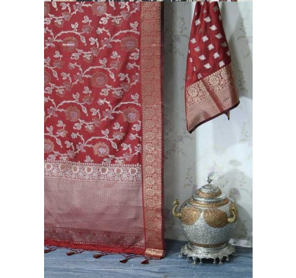 Stunning Red Color Mysore Silk  With Silver And Gold zari Saree