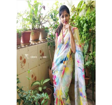 Wedding Designe Multi  Color Pure soft silk saree with digital print Saree