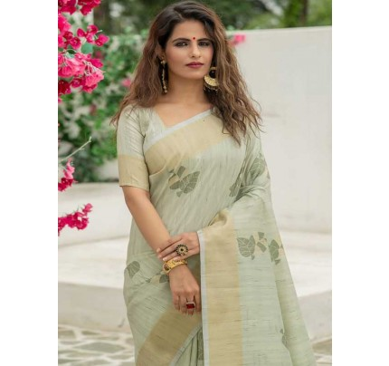 New Eye Catcher Green Color Soft Mulberry Silk Weaving Saree with Exclusive zari woven