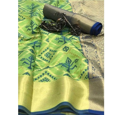 Beautiful Green Color Heavy Traditonal Patola Saree