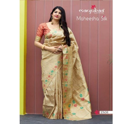 Stunning Look Cream Colour Soft Banarasi silk Pure Paithani Silk saree