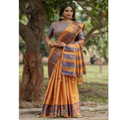 Graceful combination Multi Color Soft Art Silk Weaving Saree With Zari Woven Border