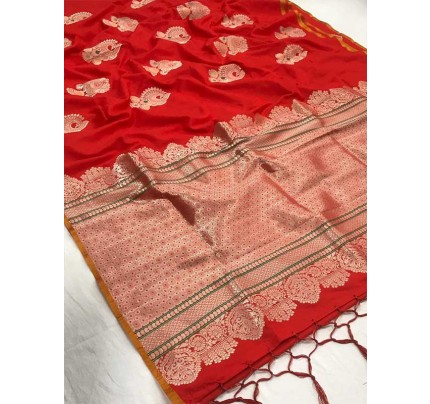 New Eye Catcher Red Color Pure Soft Silk weaving Saree