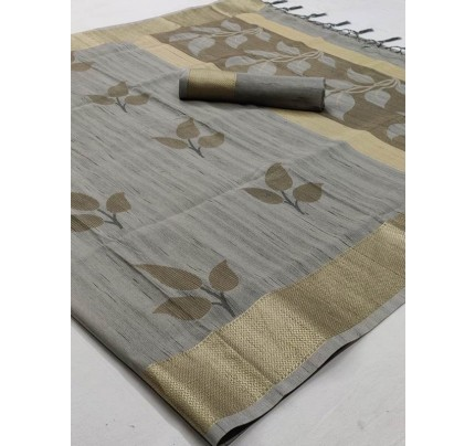 Pretty Look Grey Color Soft Handloom Weaving Silk Saree With Tassels