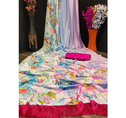 Amazing Stylish Silk Printed Saree with khatli work touchup AllOver & attached frill in  pallu