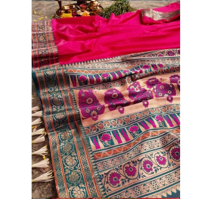 Finnest Look Pink Color Pure Banarasi Silk with lovely texture
