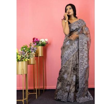 Stunning Look Organza Silk Saree with gota work all over & beautiful cutwork border
