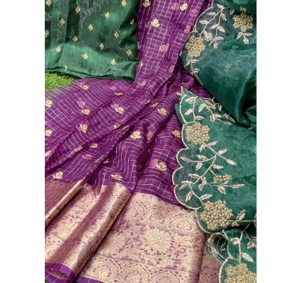 Exclusive Satin Silk fully worked of sequencing butties with diamond work Dupatta
