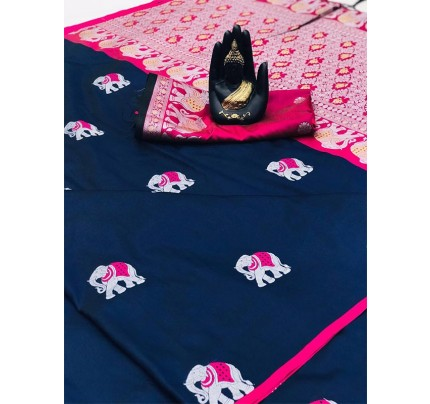 Blue Color Lichi Silk Saree with Weaving in Elephant Design