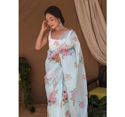 Superb Trending Soft Pure Organza handwork Khatli work on Printed Saree