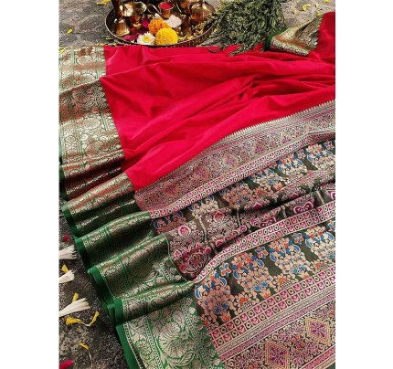 Finnest Look Red Color Pure Banarasi Silk with lovely texture