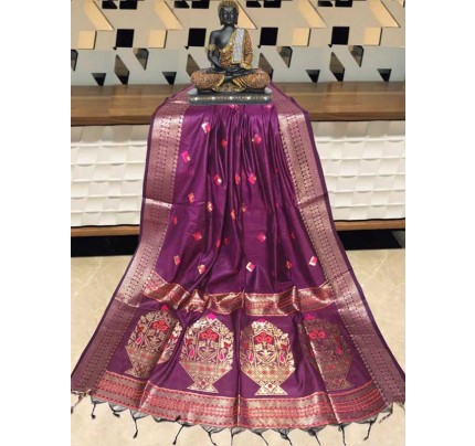Elegance Look Purple   Colour Handloom Cotton Weaving Paithani Saree
