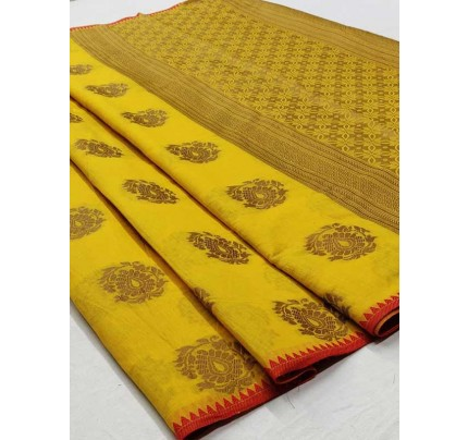 Elegance Look Yellow Colour Soft Cotton Silk Saree