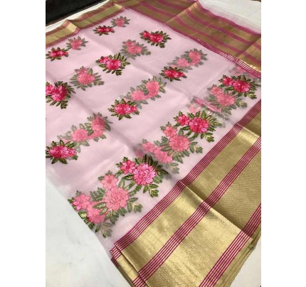 Trending Pink Colored Organza Silk Saree With Kashmiri Embroidery Work With Contrast Lining Pallu
