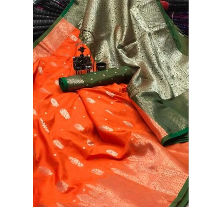 Graceful combination Orange Color Lichi Silk with beautiful zari weaving Border