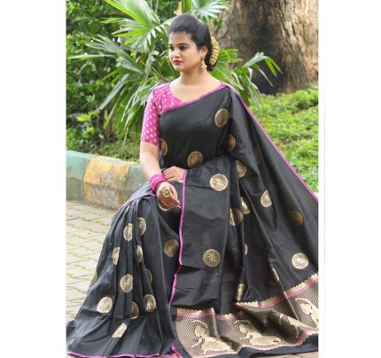Latest Traditional Look Black  Color Soft Banarasi Silk Rich Pallu With Checks And Peacock Butta And Full Saree Peacock Butta Saree
