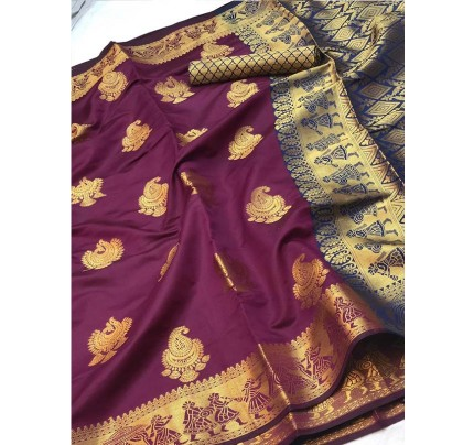 Pretty Look Purple Color Banarasi Silk Saree with Zari work