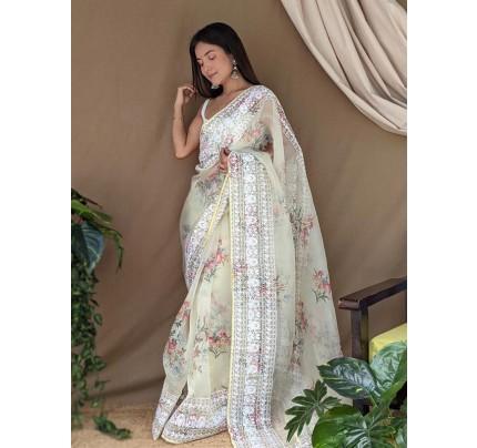 Floral Style Organza Printed Saree with zari work border