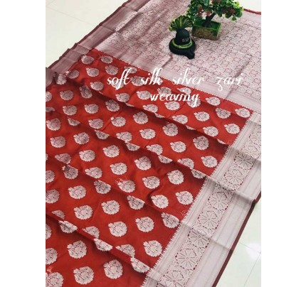Latest Wedding Look Red Color Soft Silk Silver zari weaving Saree with Rich Pallu