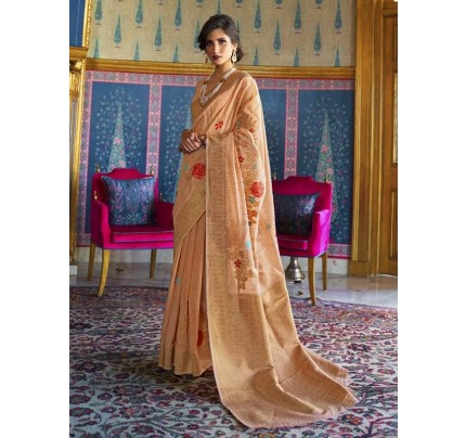 New Eye Catcher Peach Color Pure Soft Silk weaving Saree