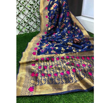 Stunning Look Blue Colour Pure Banarasi Soft Silk Saree With RICH Zari Pallu