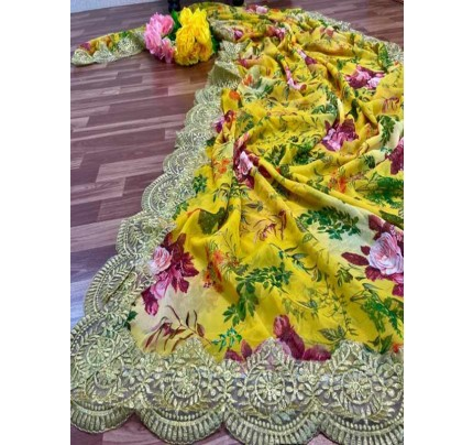 Eye-Catching Look Yellow color Georgette Digital Printed Saree