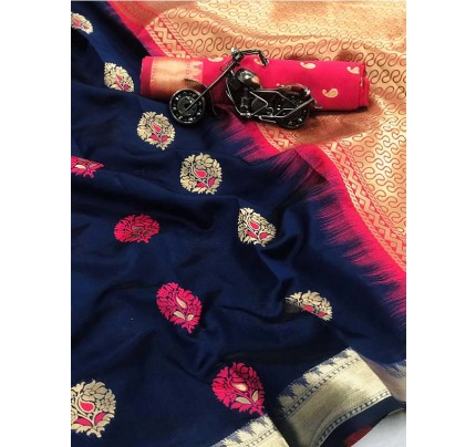 Blue Color Lichi Silk Saree With Zari Weaving Butta on Saree