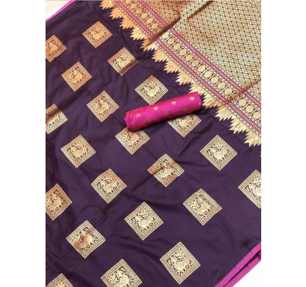 Stunning Look Purple Colour Soft Banarasi silk weaving saree
