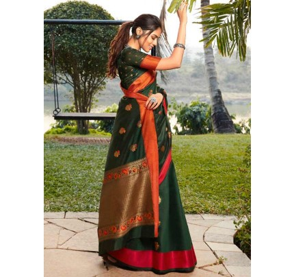Eye-Catching Look Green color Soft Linen Silk weaving Saree