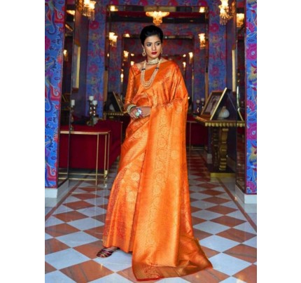 Wedding Designer Orange Color pure silk weaving Saree with excellent soft texture
