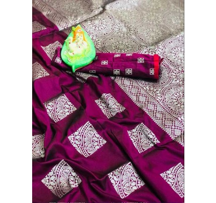 Graceful combination for Wedding Look Purple Color Lichi Silk Zari Weaving Saree